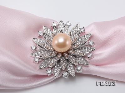 12mm Pink Round Edison Pearl Brooch/Pendant with Zircons FB453 Image 5