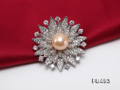 12mm Pink Round Edison Pearl Brooch/Pendant with Zircons FB453 Image 6
