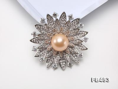 12mm Pink Round Edison Pearl Brooch/Pendant with Zircons FB453 Image 7
