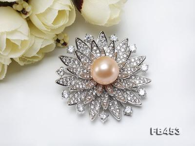 12mm Pink Round Edison Pearl Brooch/Pendant with Zircons FB453 Image 8