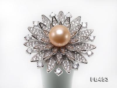 12mm Pink Round Edison Pearl Brooch/Pendant with Zircons FB453 Image 9