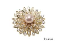 11.5mm Lavender Round Edison Pearl Brooch/Pendant with Zircons FB454