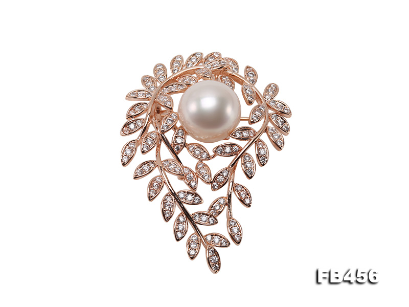 13.5mm Huge White Round Edison Pearl Brooch/Pendant with Zircons big Image 1