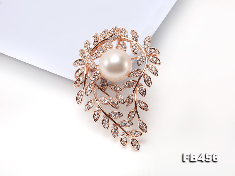 13.5mm Huge White Round Edison Pearl Brooch/Pendant with Zircons big Image 4