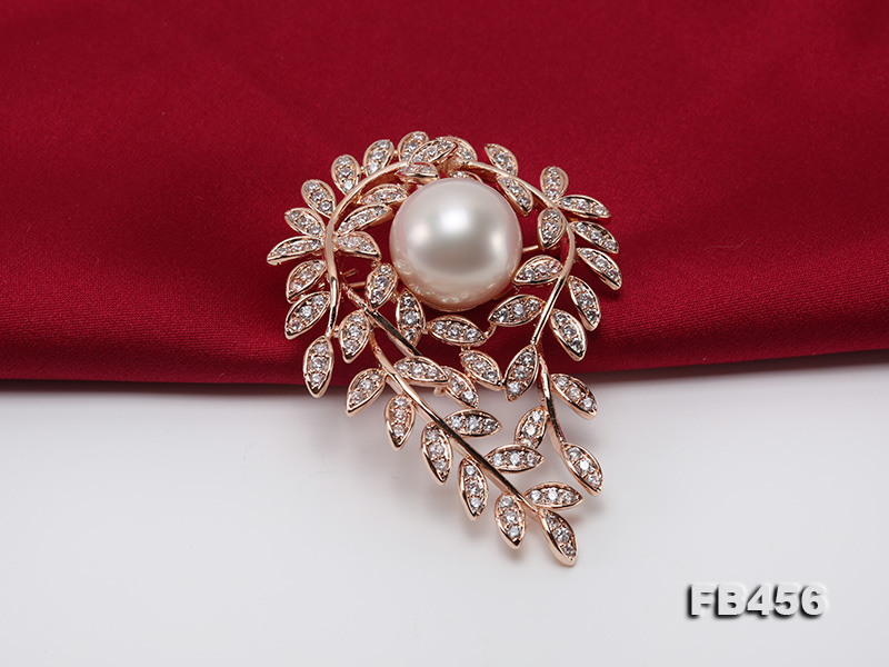 13.5mm Huge White Round Edison Pearl Brooch/Pendant with Zircons big Image 6