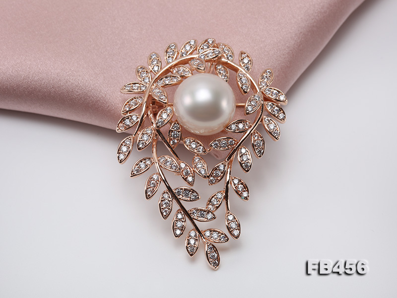 13.5mm Huge White Round Edison Pearl Brooch/Pendant with Zircons big Image 7