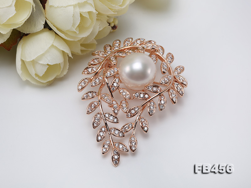 13.5mm Huge White Round Edison Pearl Brooch/Pendant with Zircons big Image 9