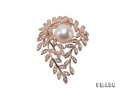 13.5mm Huge White Round Edison Pearl Brooch/Pendant with Zircons FB456 Image 1