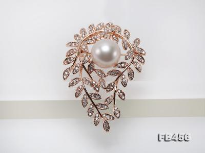 13.5mm Huge White Round Edison Pearl Brooch/Pendant with Zircons FB456 Image 5
