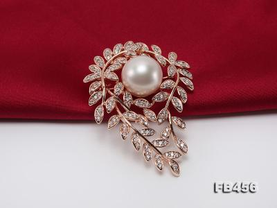 13.5mm Huge White Round Edison Pearl Brooch/Pendant with Zircons FB456 Image 6