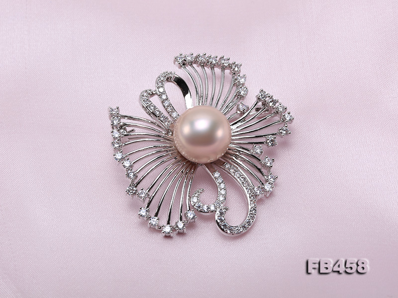 13mm Lavender Round Edison Pearl Brooch/Pendant with Zircons big Image 5