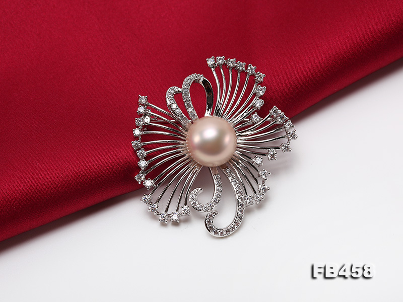 13mm Lavender Round Edison Pearl Brooch/Pendant with Zircons big Image 6