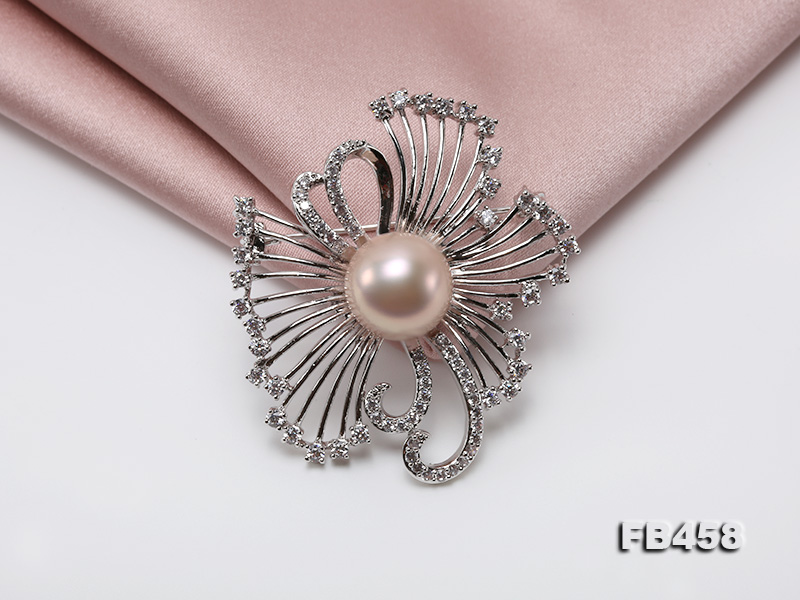 13mm Lavender Round Edison Pearl Brooch/Pendant with Zircons big Image 7