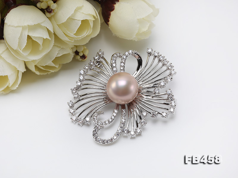 13mm Lavender Round Edison Pearl Brooch/Pendant with Zircons big Image 8
