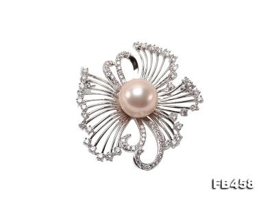 13mm Lavender Round Edison Pearl Brooch/Pendant with Zircons FB458 Image 1