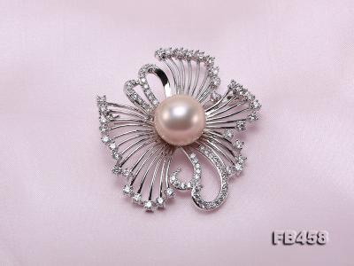 13mm Lavender Round Edison Pearl Brooch/Pendant with Zircons FB458 Image 5