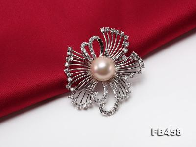 13mm Lavender Round Edison Pearl Brooch/Pendant with Zircons FB458 Image 6