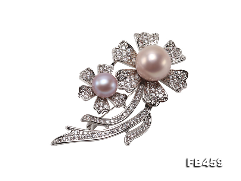 9-13.5mm Lavender Round Edison Pearl Brooch/Pendant with Zircons big Image 1