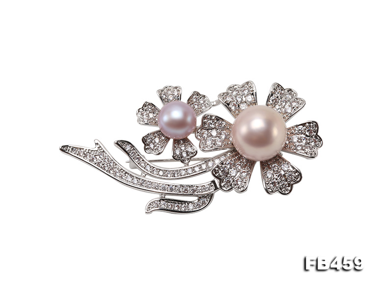 9-13.5mm Lavender Round Edison Pearl Brooch/Pendant with Zircons big Image 4