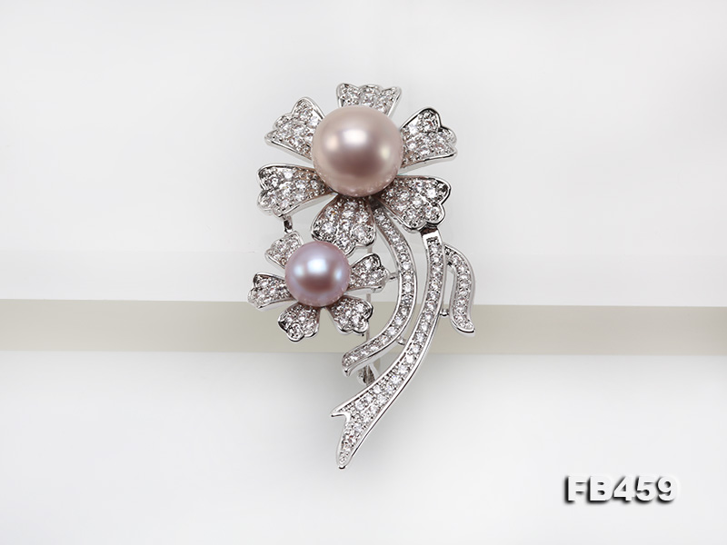 9-13.5mm Lavender Round Edison Pearl Brooch/Pendant with Zircons big Image 5