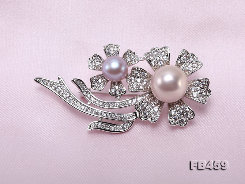 9-13.5mm Lavender Round Edison Pearl Brooch/Pendant with Zircons big Image 6