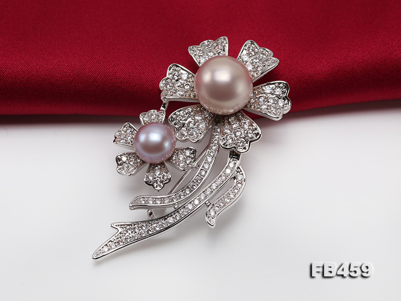 9-13.5mm Lavender Round Edison Pearl Brooch/Pendant with Zircons big Image 7