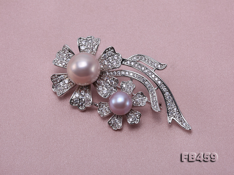 9-13.5mm Lavender Round Edison Pearl Brooch/Pendant with Zircons big Image 8