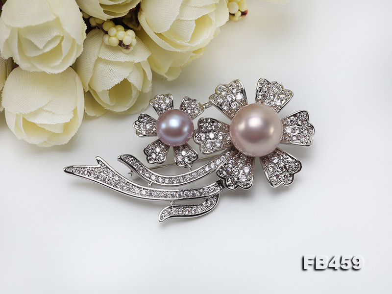 9-13.5mm Lavender Round Edison Pearl Brooch/Pendant with Zircons big Image 9