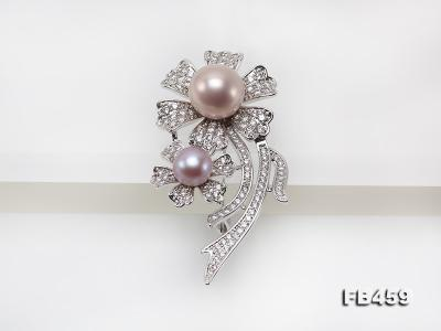9-13.5mm Lavender Round Edison Pearl Brooch/Pendant with Zircons FB459 Image 5