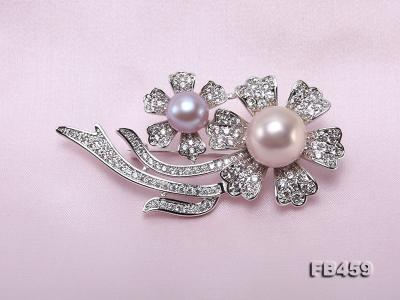 9-13.5mm Lavender Round Edison Pearl Brooch/Pendant with Zircons FB459 Image 6