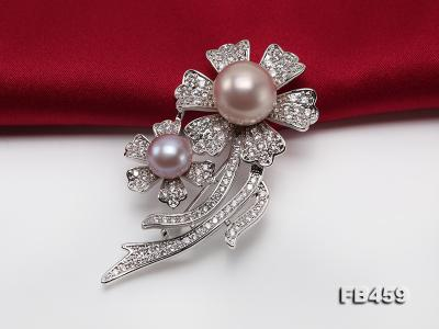 9-13.5mm Lavender Round Edison Pearl Brooch/Pendant with Zircons FB459 Image 7