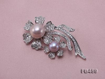 9-13.5mm Lavender Round Edison Pearl Brooch/Pendant with Zircons FB459 Image 8