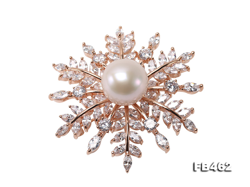 Lustrous 13.5-14mm White Round Edison Pearl Brooch/Pendant  big Image 1