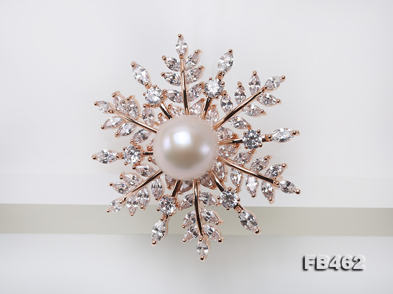 Lustrous 13.5-14mm White Round Edison Pearl Brooch/Pendant  big Image 3