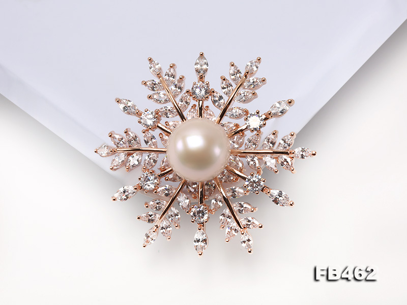 Lustrous 13.5-14mm White Round Edison Pearl Brooch/Pendant  big Image 4