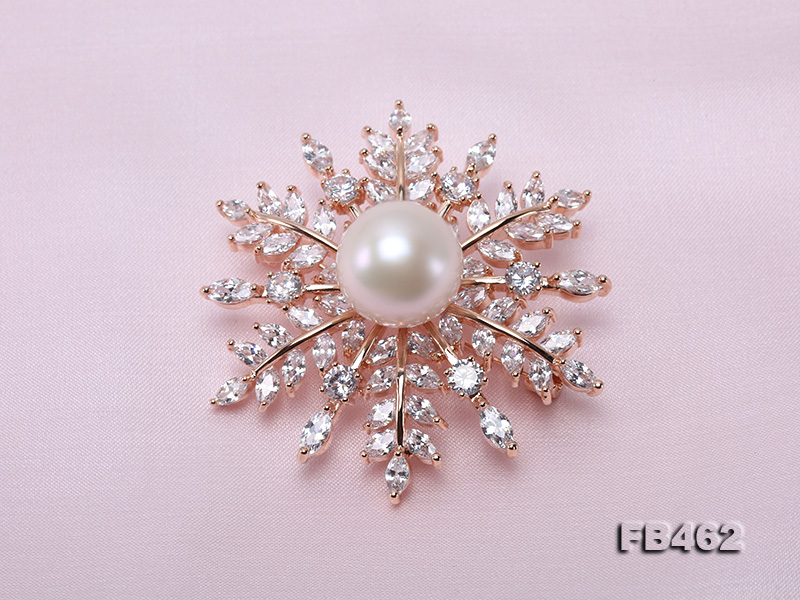 Lustrous 13.5-14mm White Round Edison Pearl Brooch/Pendant  big Image 5