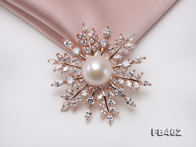 Lustrous 13.5-14mm White Round Edison Pearl Brooch/Pendant  big Image 6