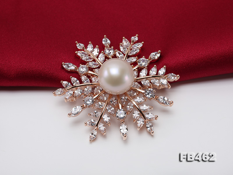 Lustrous 13.5-14mm White Round Edison Pearl Brooch/Pendant  big Image 7