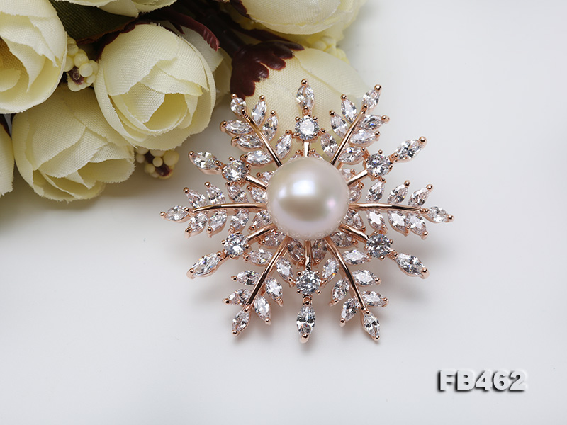 Lustrous 13.5-14mm White Round Edison Pearl Brooch/Pendant  big Image 8