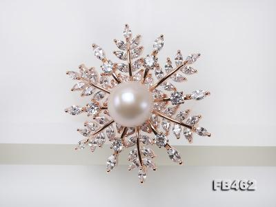 Lustrous 13.5-14mm White Round Edison Pearl Brooch/Pendant  FB462 Image 3