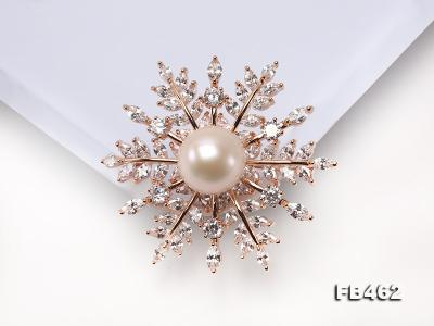 Lustrous 13.5-14mm White Round Edison Pearl Brooch/Pendant  FB462 Image 4