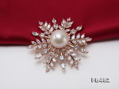 Lustrous 13.5-14mm White Round Edison Pearl Brooch/Pendant  FB462 Image 7