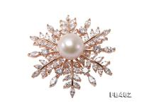 Lustrous 13.5-14mm White Round Edison Pearl Brooch/Pendant  FB462