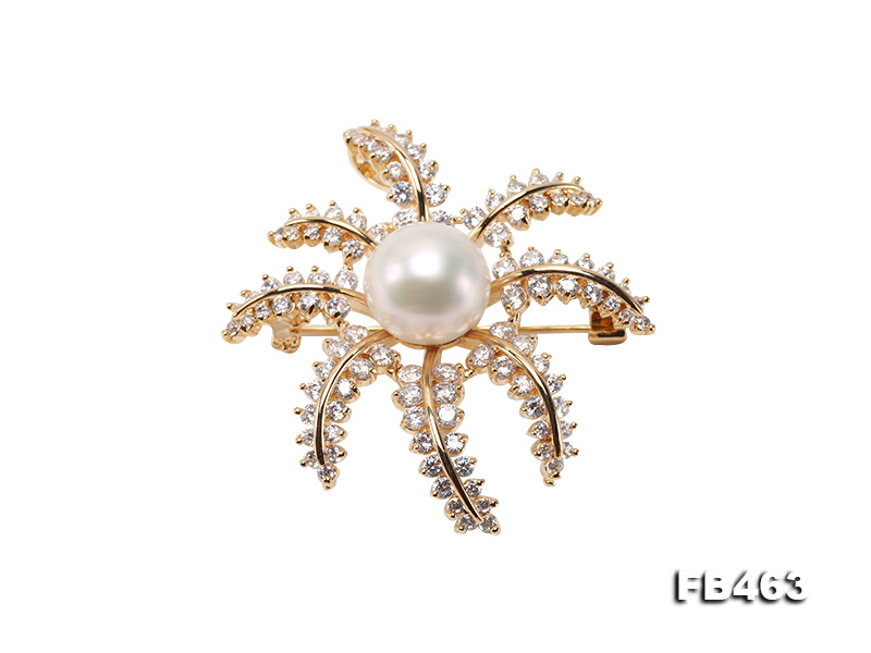 Lustrous 12.5mm White Round Edison Pearl Brooch/Pendant  big Image 1
