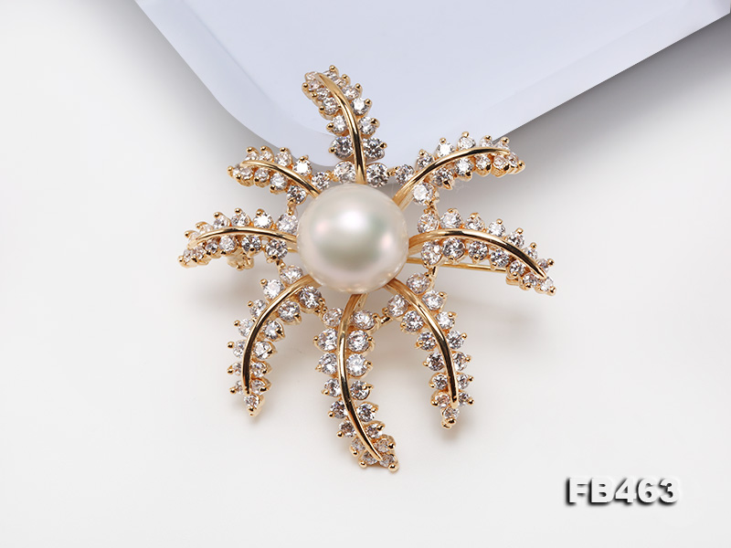 Lustrous 12.5mm White Round Edison Pearl Brooch/Pendant  big Image 3