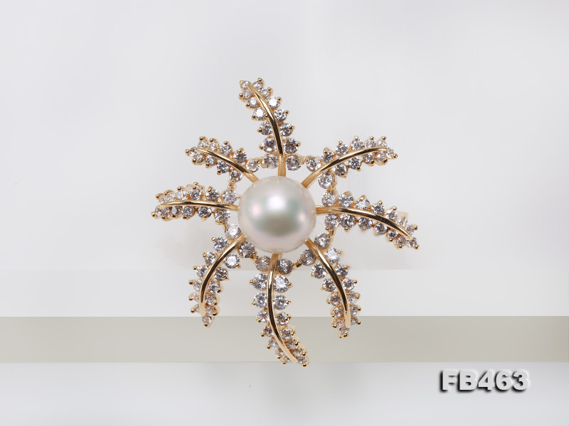 Lustrous 12.5mm White Round Edison Pearl Brooch/Pendant  big Image 4