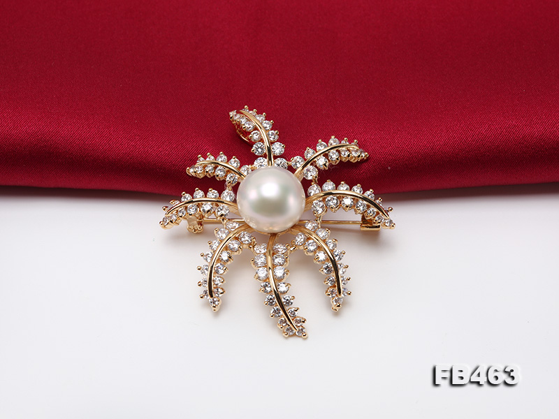 Lustrous 12.5mm White Round Edison Pearl Brooch/Pendant  big Image 5
