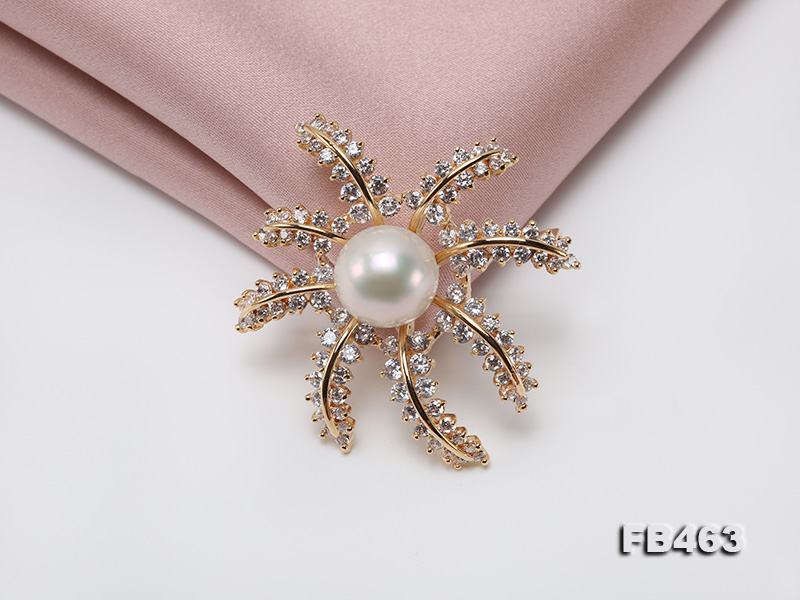 Lustrous 12.5mm White Round Edison Pearl Brooch/Pendant  big Image 6