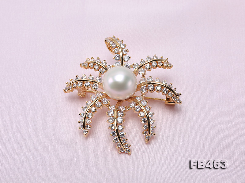Lustrous 12.5mm White Round Edison Pearl Brooch/Pendant  big Image 7