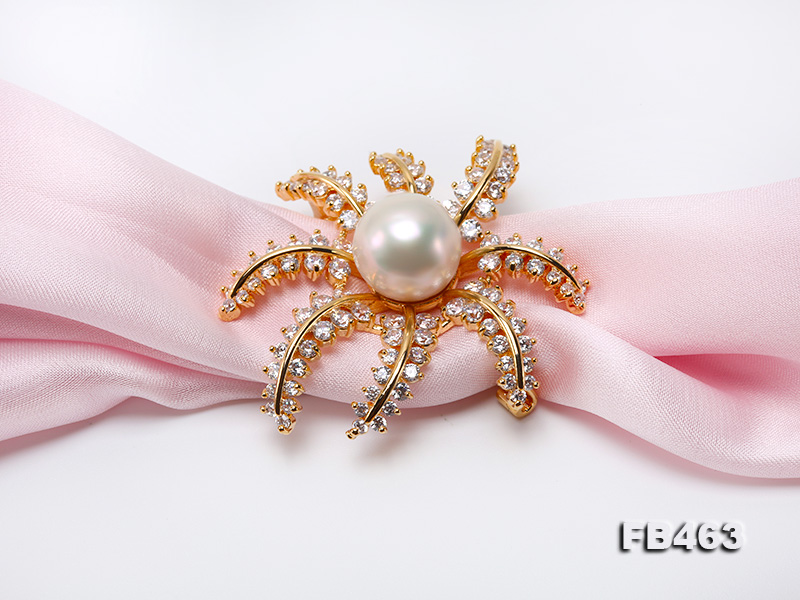 Lustrous 12.5mm White Round Edison Pearl Brooch/Pendant  big Image 8